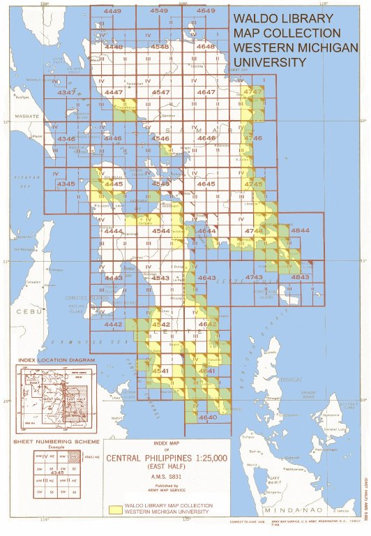 Index map of Central Philippines 1:25,000 (East half)