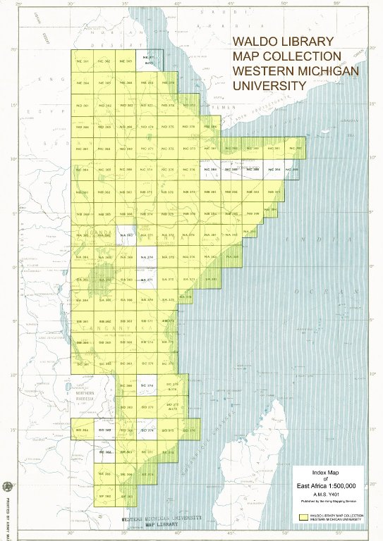 Index map of East Africa 1:500,000