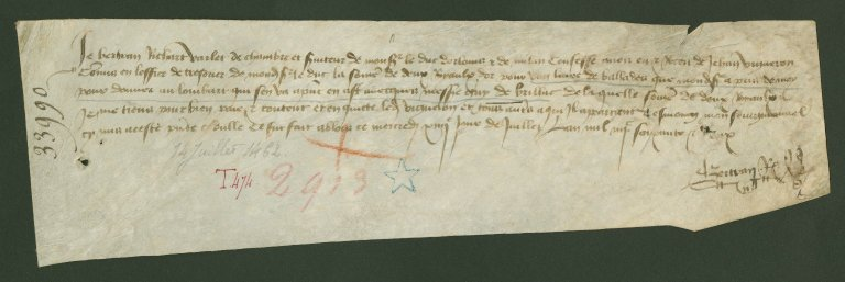 Receipt, 1462 July 14, by Charles, Duke of Orleans' Valet
