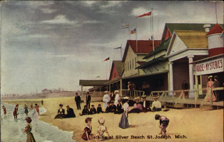 Bathers at Silver Beach St. Joseph Mich postcard