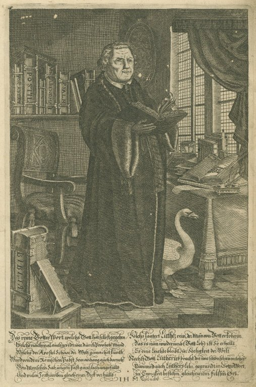 [Portrait of Martin Luther [bible page], Bible. German. Luther. 1650]