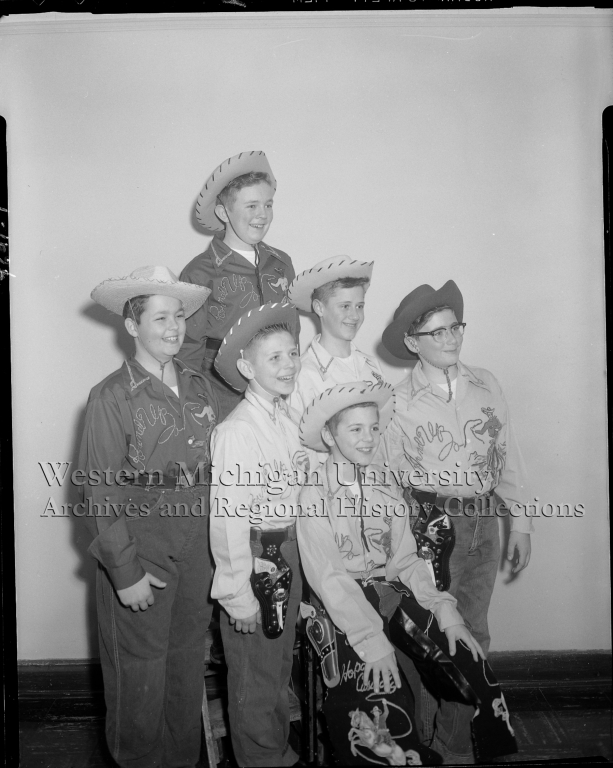 Barbour Hall Junior Military Academy, group portrait of boys in cowboy outfits
