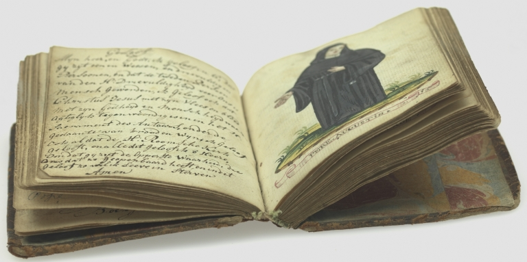 Iconography of fifty hand colored full-figure drawings of male and female members of religious orders in their habits, open