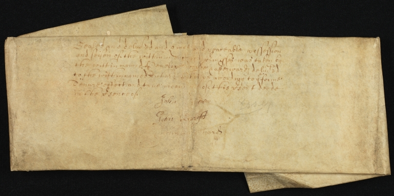 Conveyance, 1659, of Land in Great Dunmow to Richard Phillips, folded, front