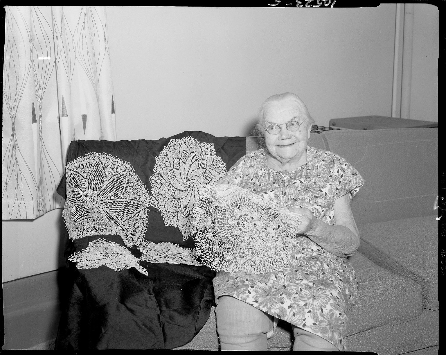 Harold and Grace Upjohn Community Nursing Home, resident woman with crocheted doilies