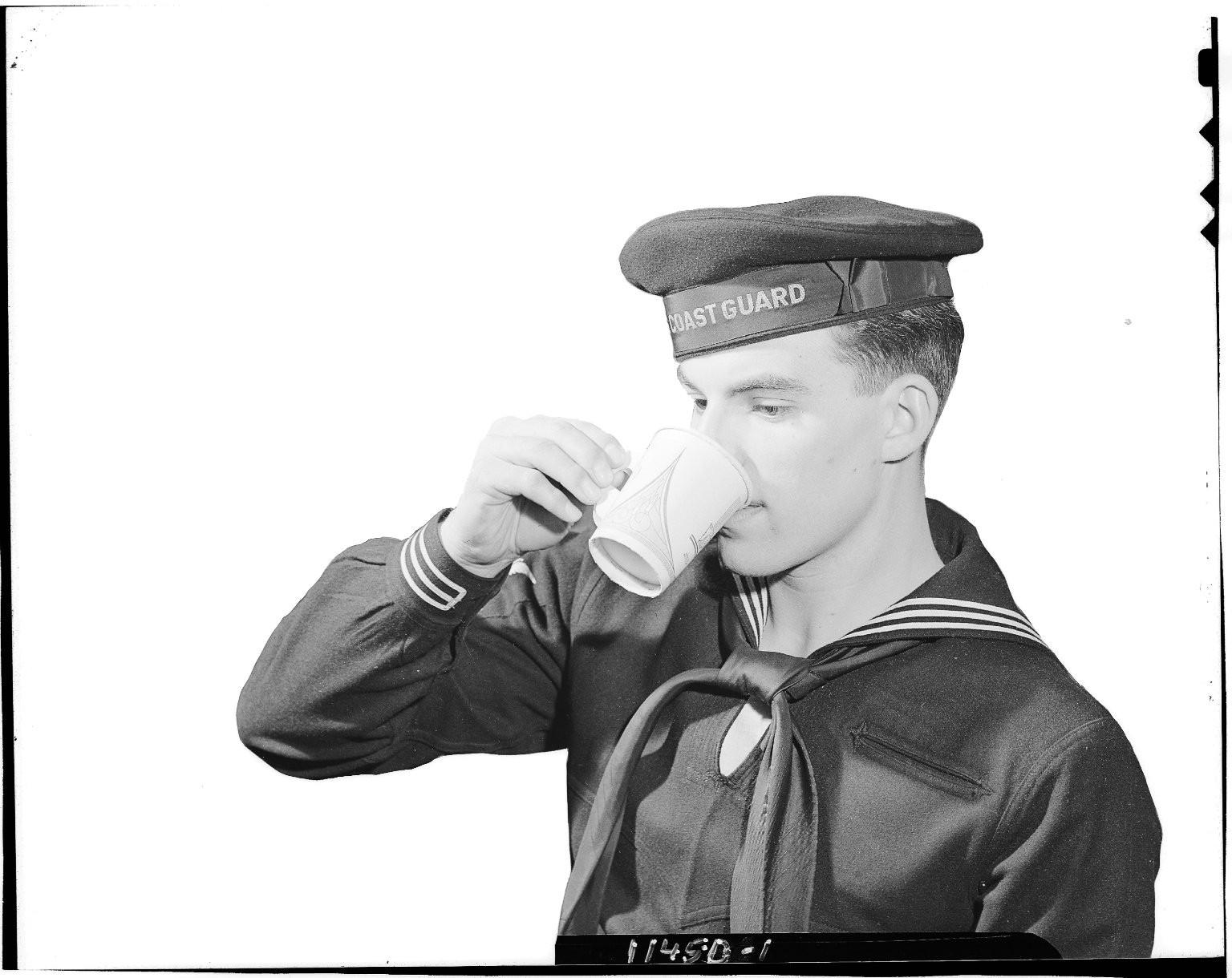 Sutherland Paper Company, U.S. Coast Guard enlisted man drinking from paper cup