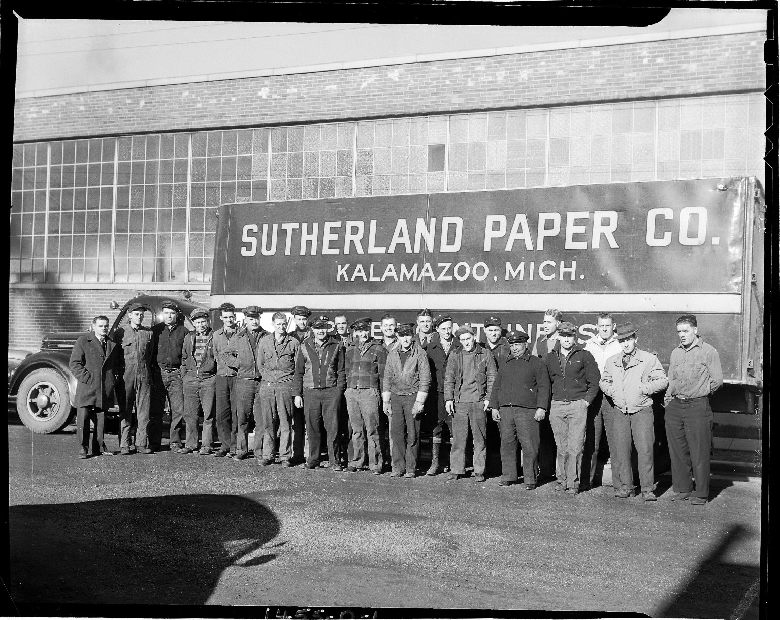 Sutherland Paper Company truck and truck drivers