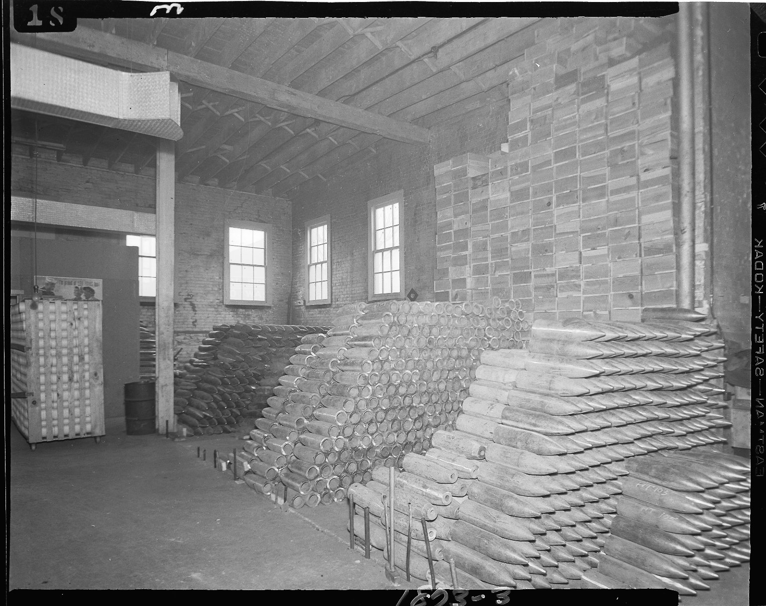 Ammunition shells industrial plant warehouse, interior