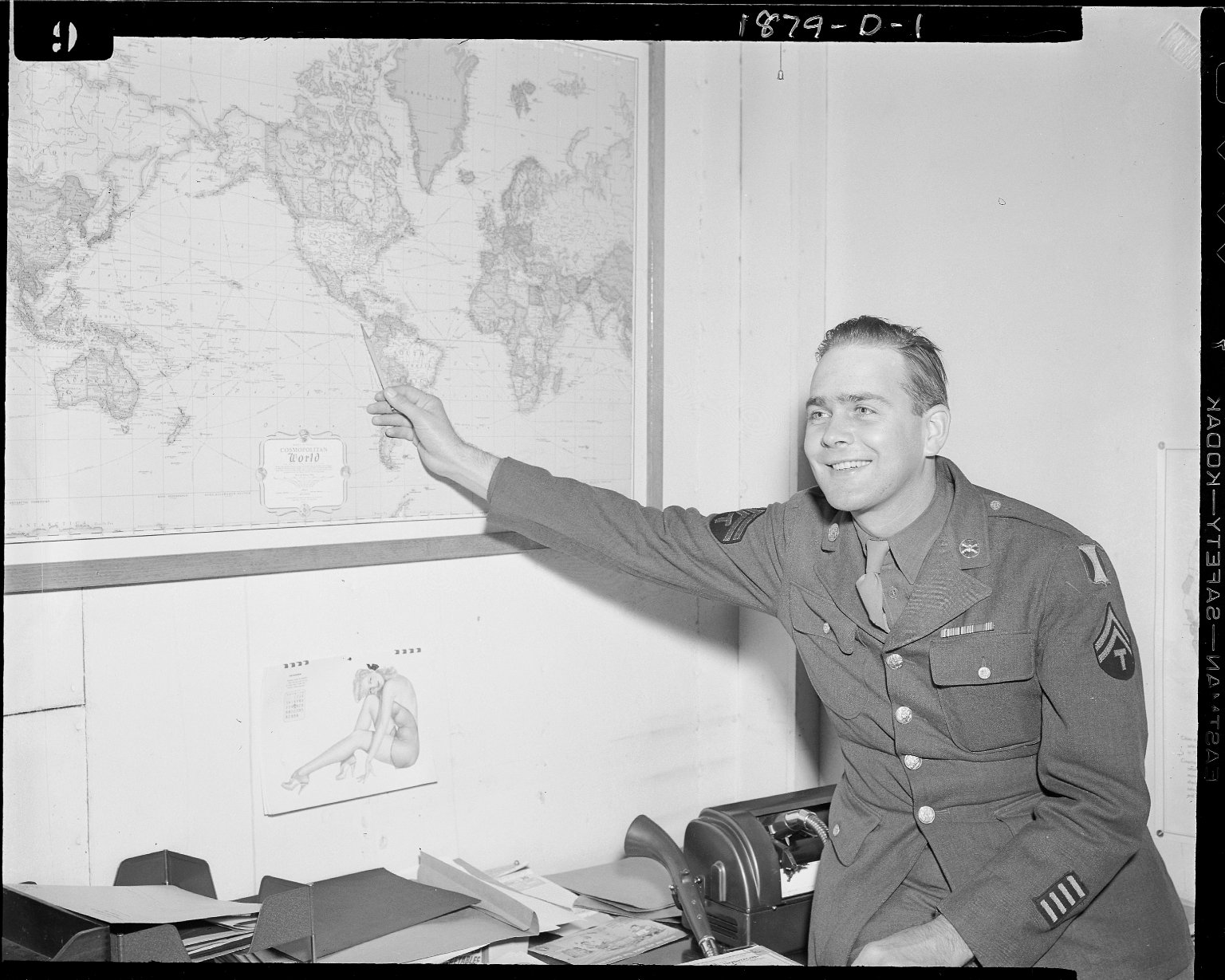 Sutherland Paper Company promotion with army technician pointing to map