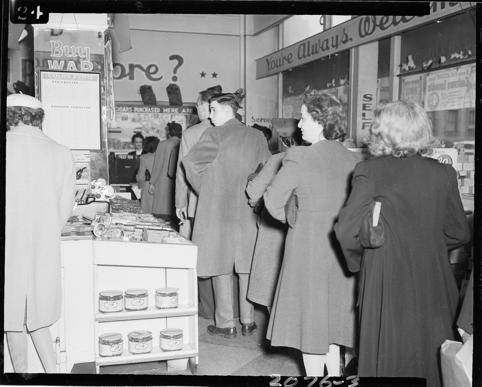 Walgreens Drug Store, people in line for cigarettes