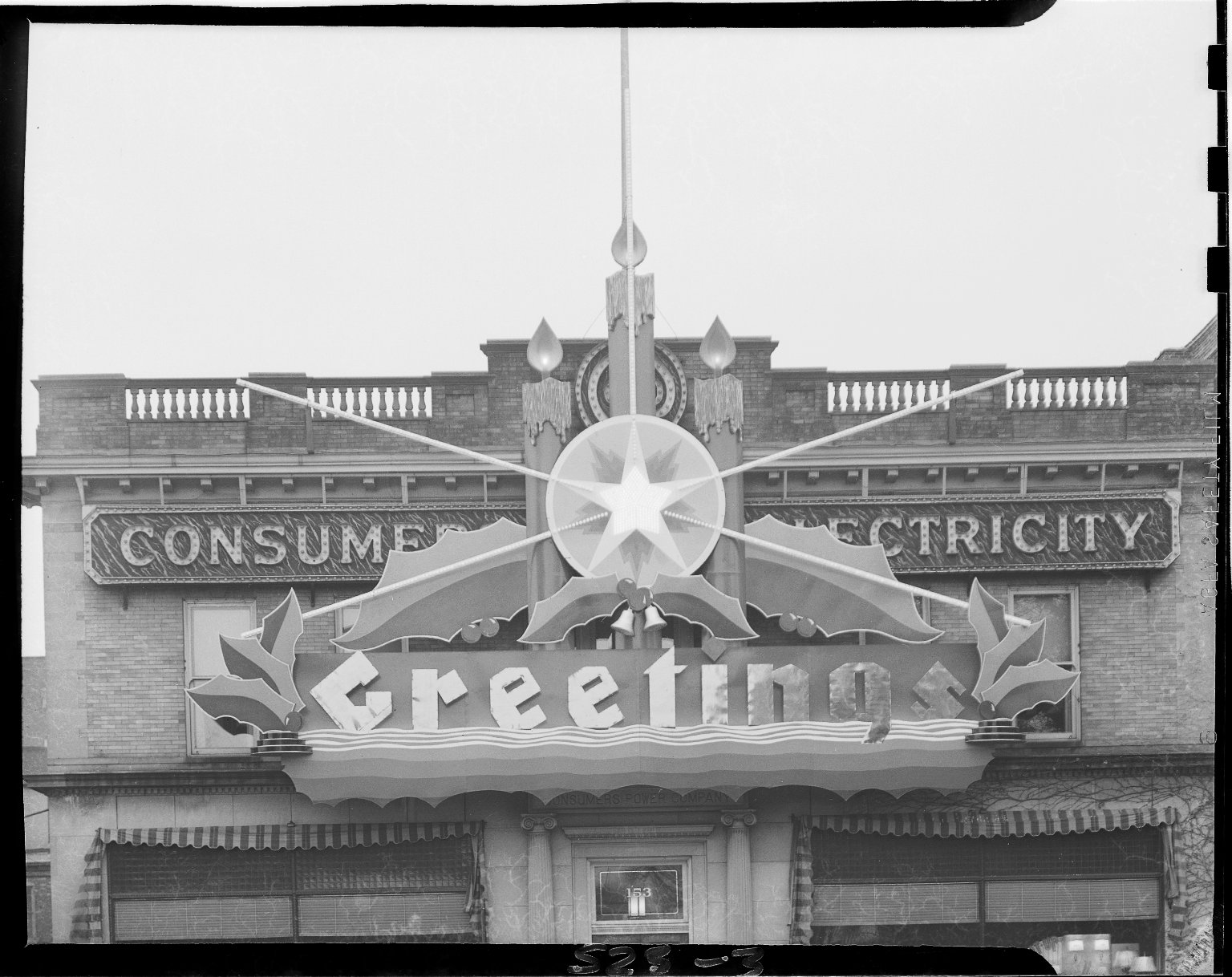 Consumers' Power Company, exterior, with holiday decorations, close-up