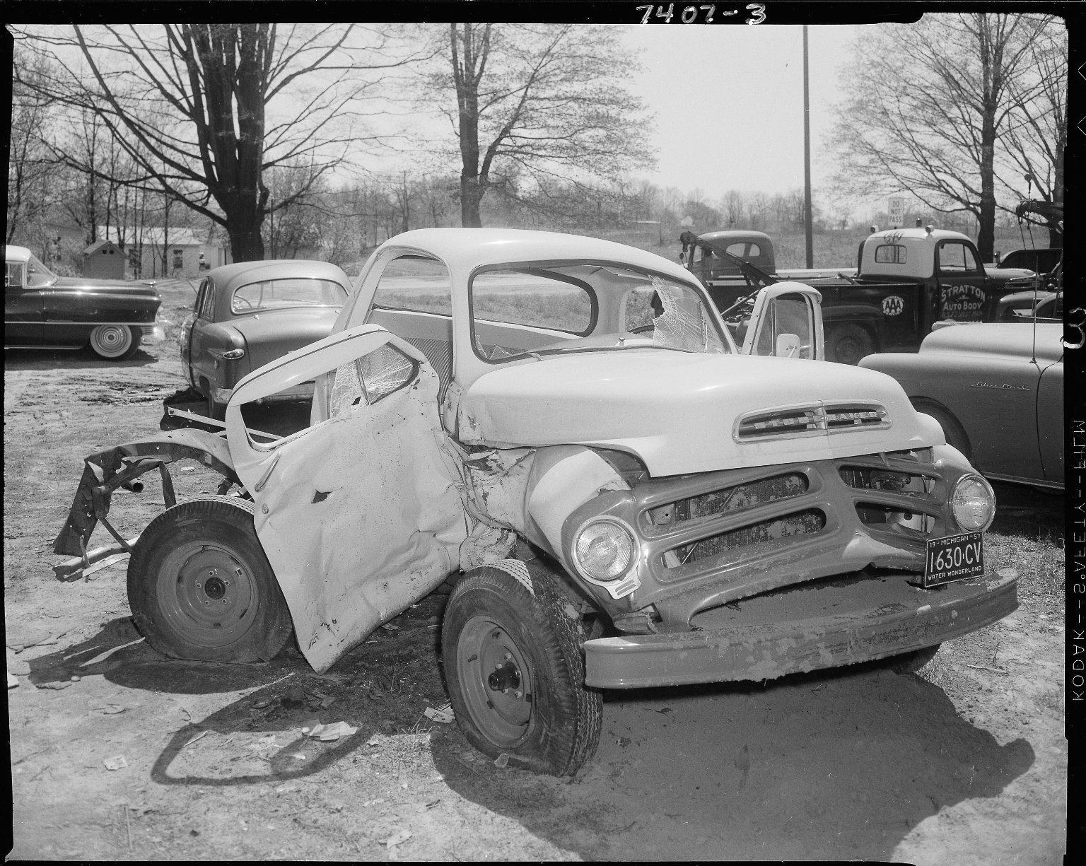 Studebaker pick-up truck, wrecked