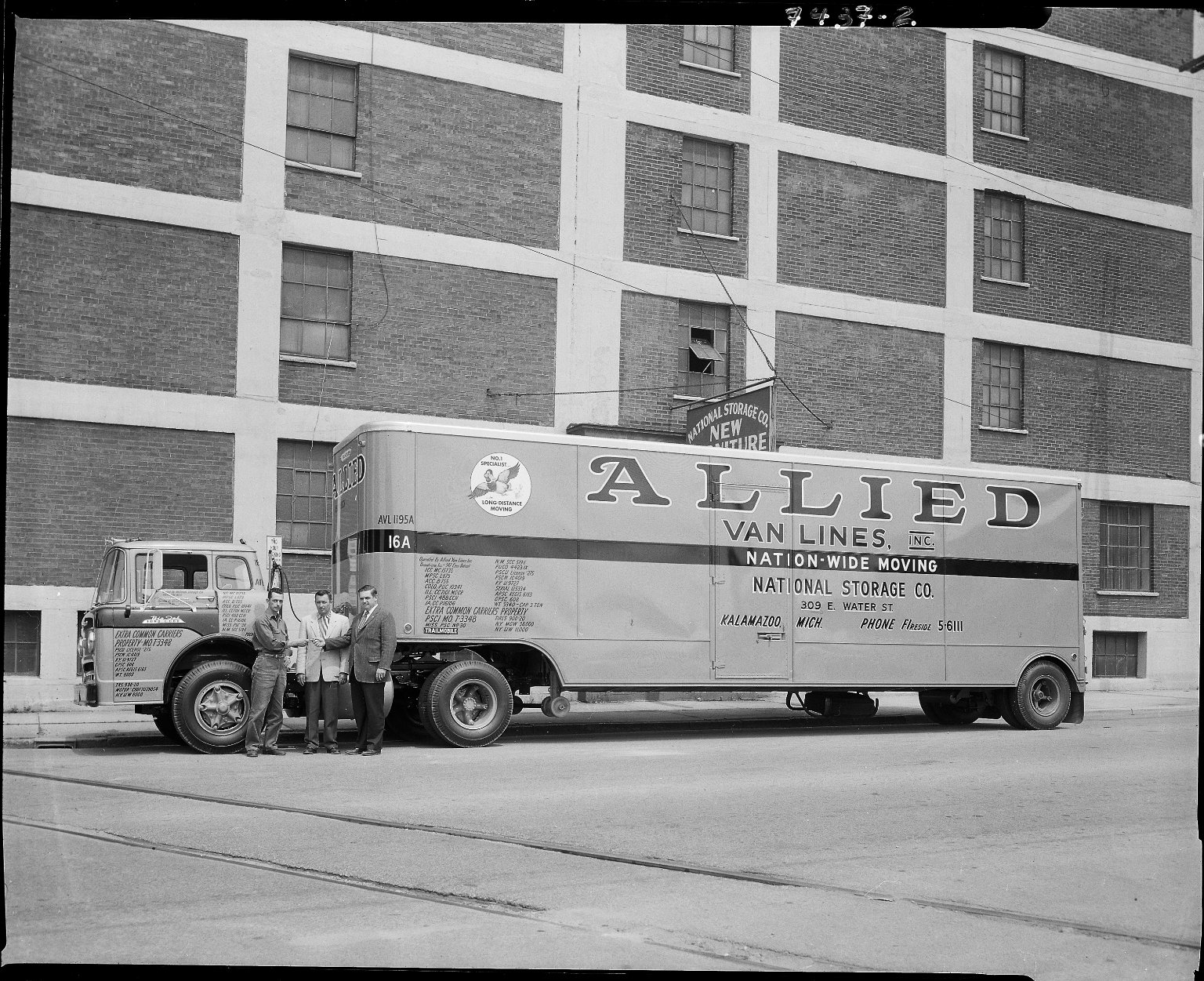 National Storage Company, Allied Van Lines truck with driver and others