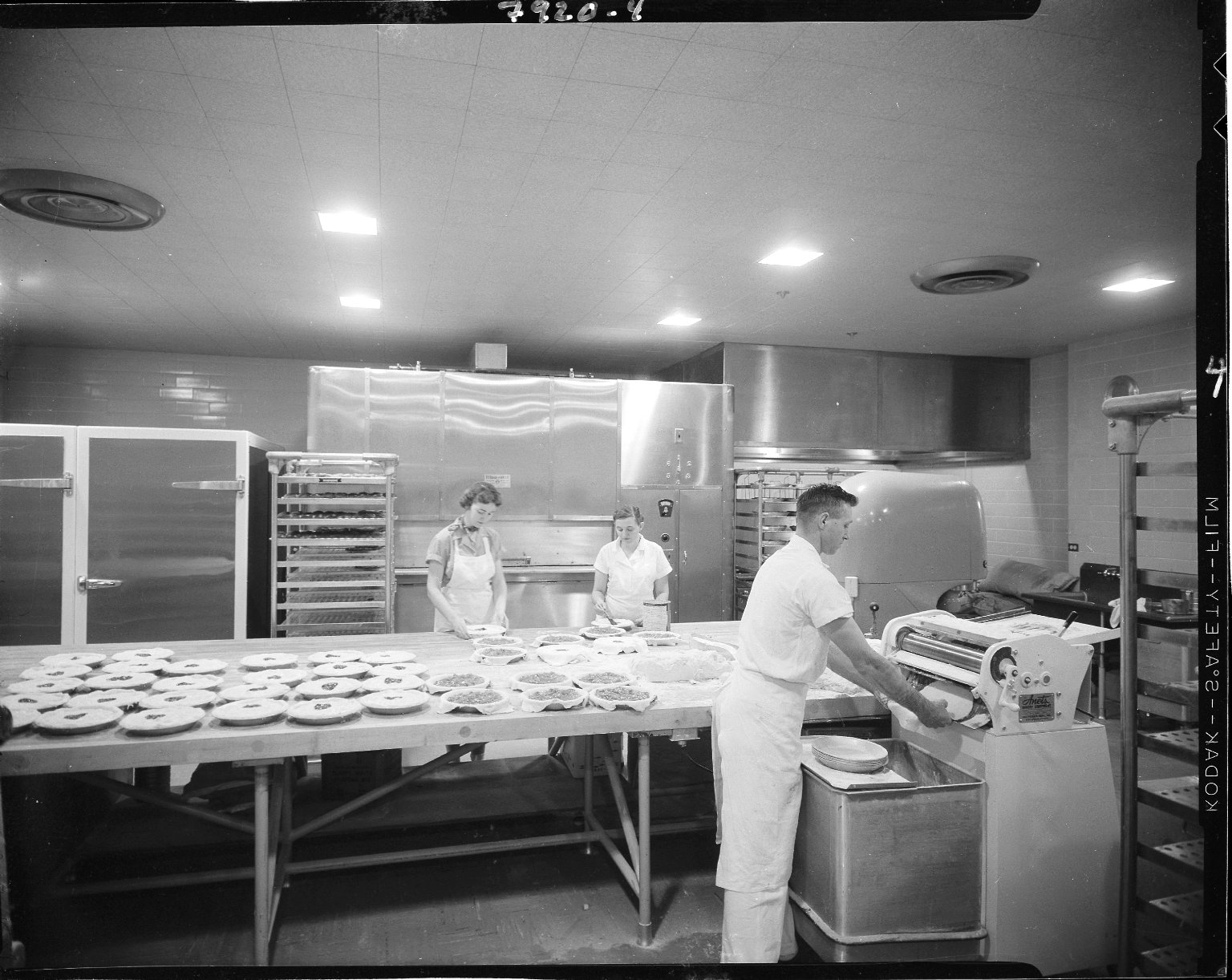 Western Michigan University, Bernhard Student Center, interior, kitchen staff preparing pies