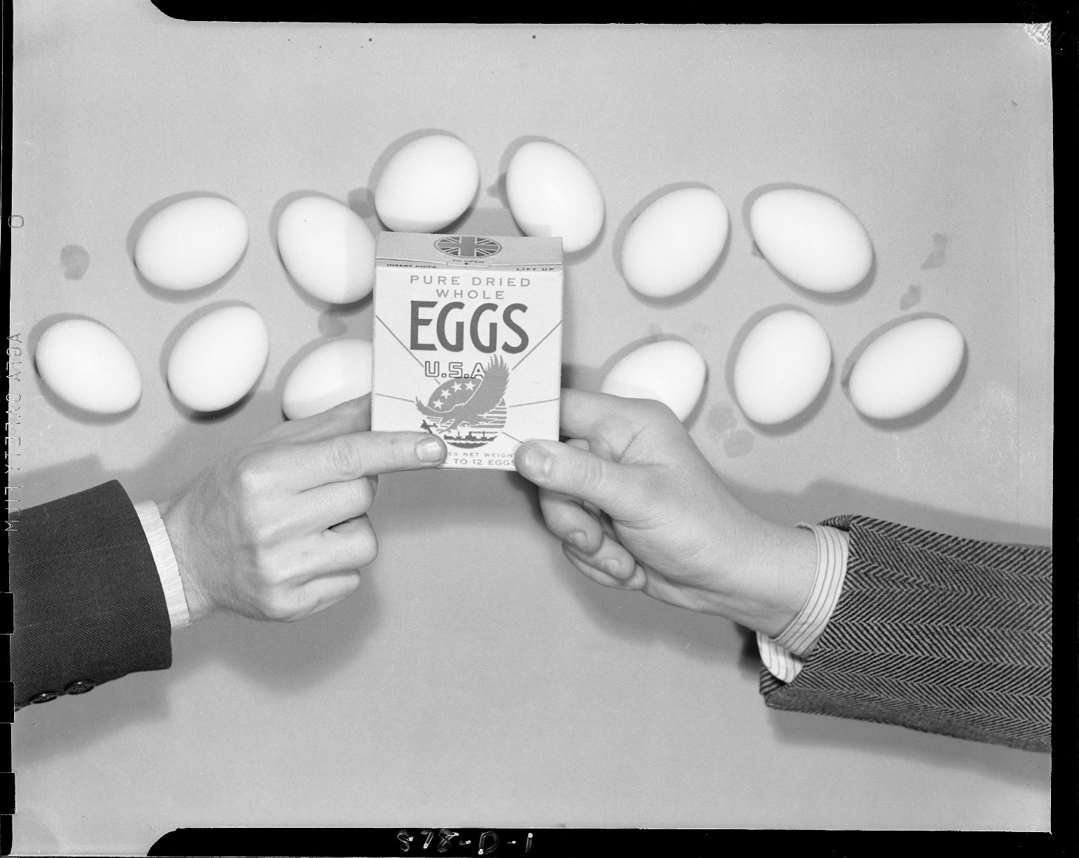 """Sutherland Paper Company, """"Pure Dried Whole Eggs U.S.A."""" advertisement"""