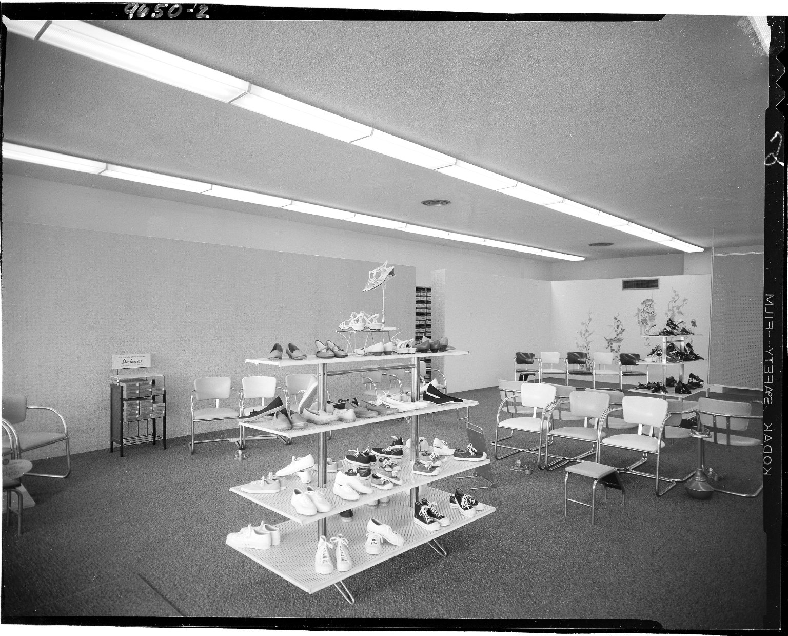Clay's Bootery, interior, display of women's shoes