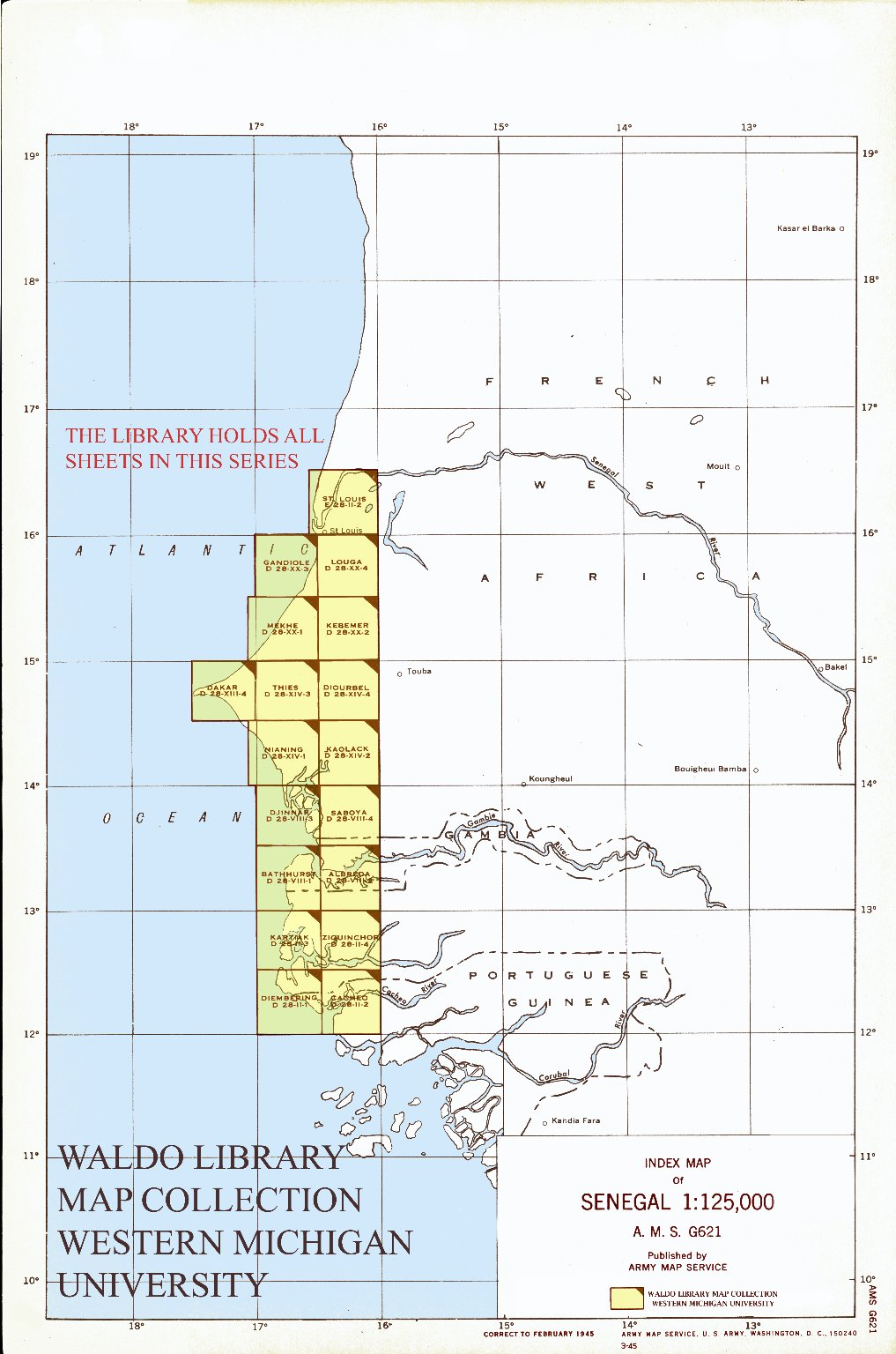 Index map of Senegal 1:125,000