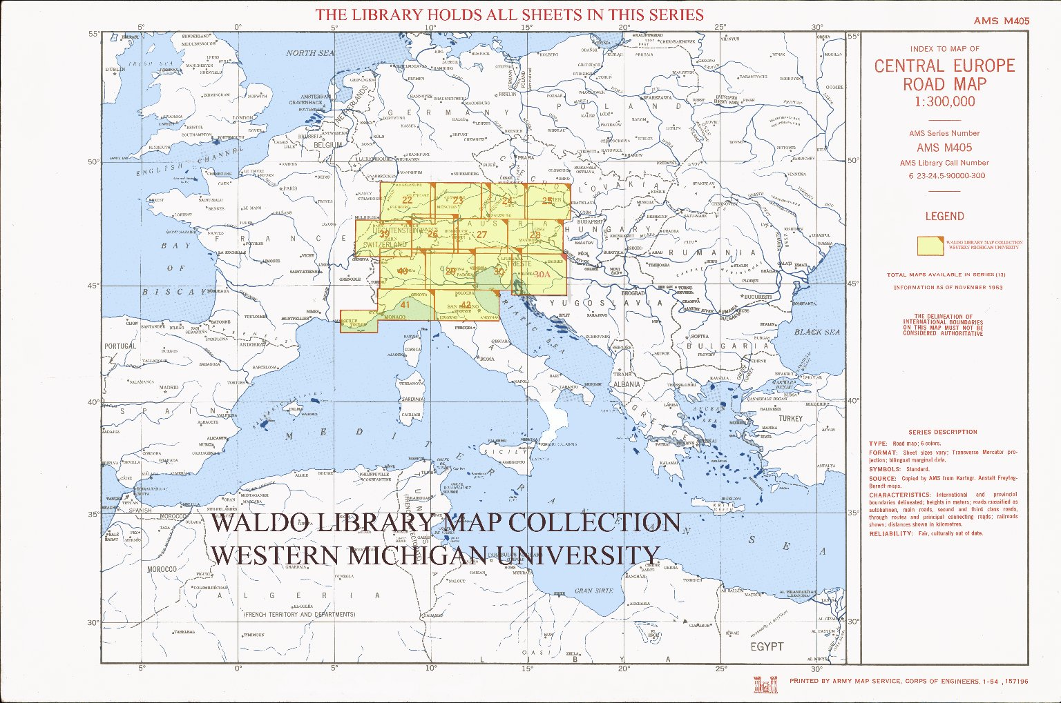 Index to map of Central Europe road map 1:300,000