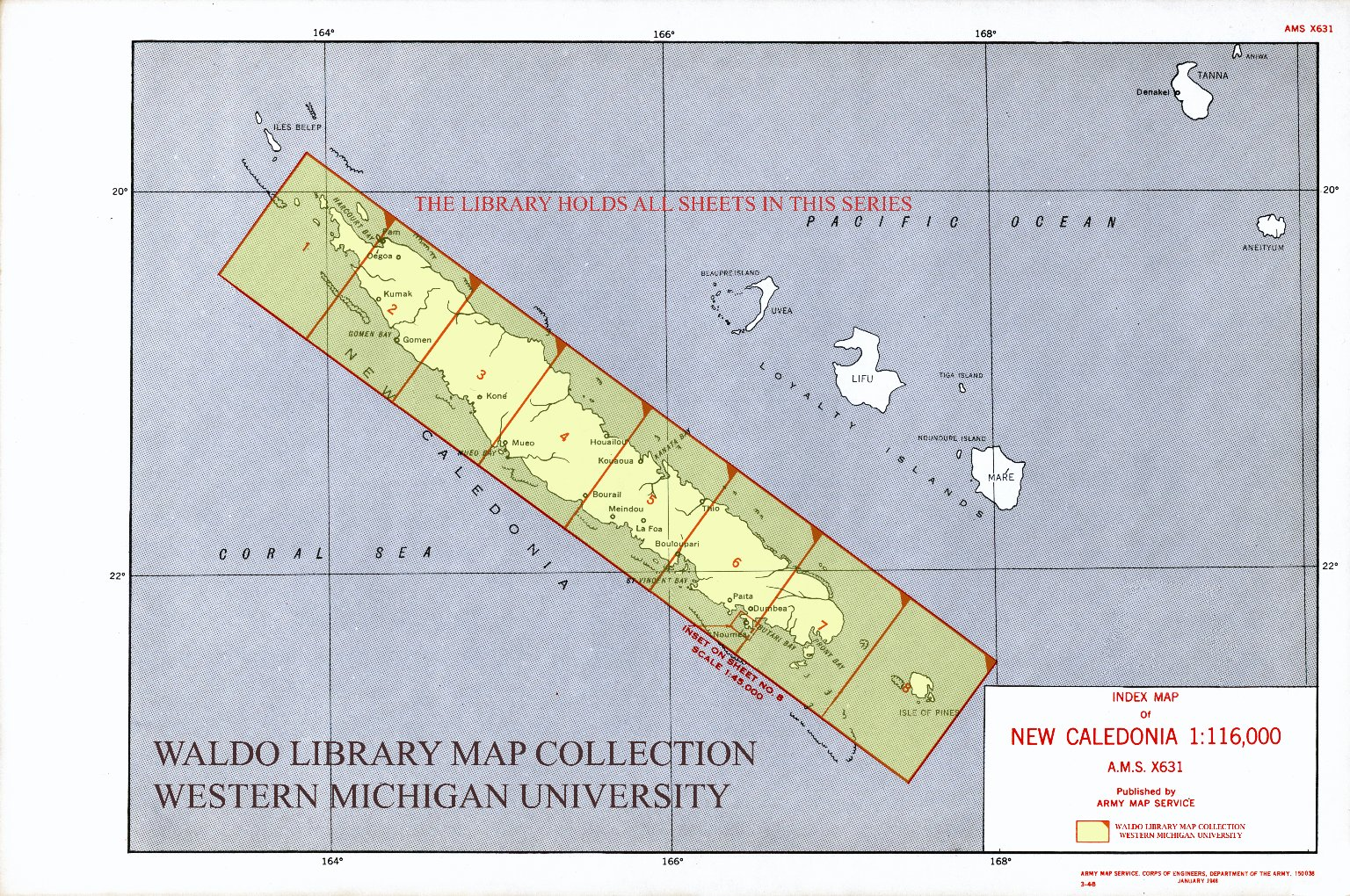 Index map of New Caledonia 1:116,000