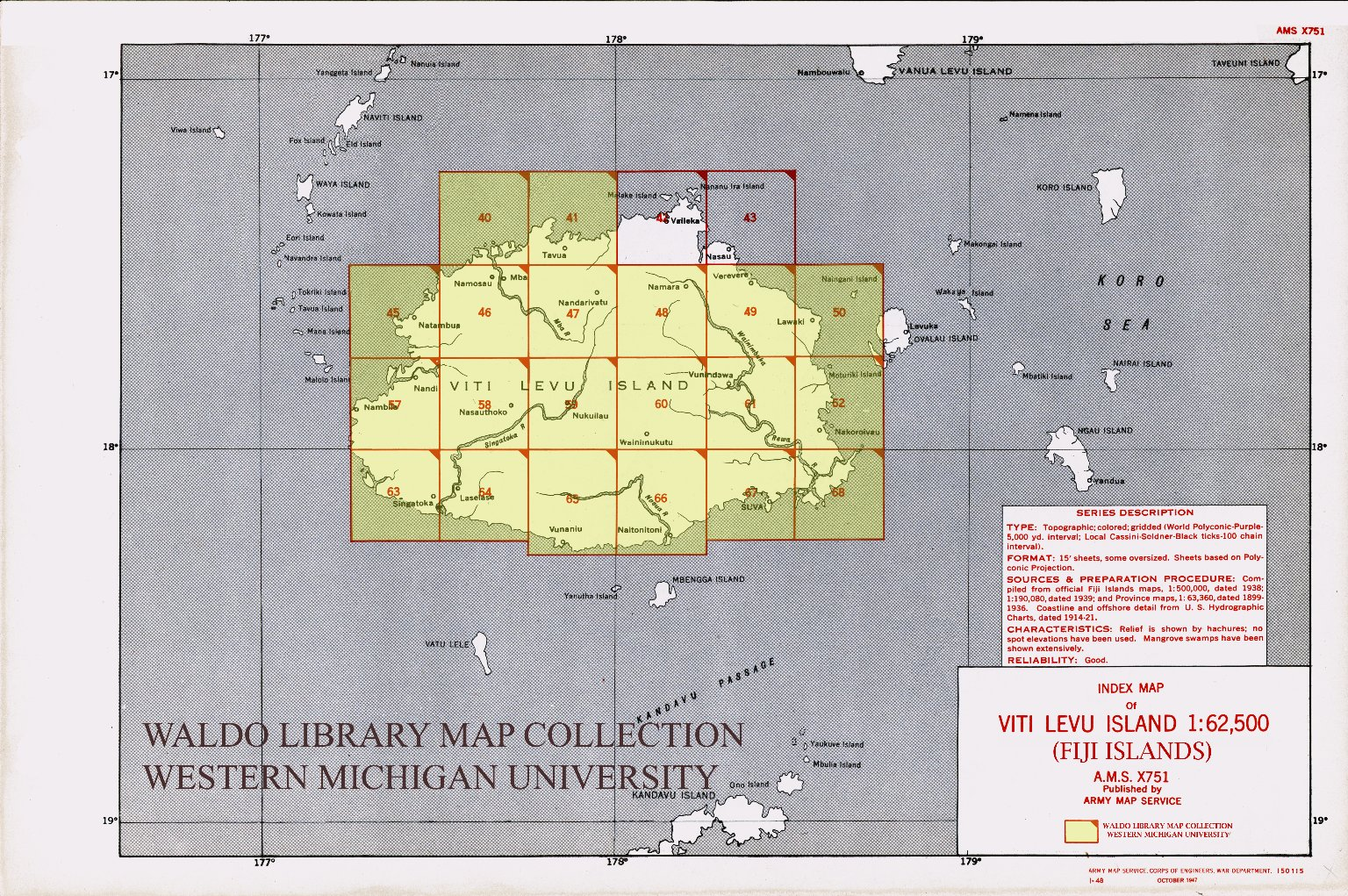 Index map of Viti Levu Island 1:62,500