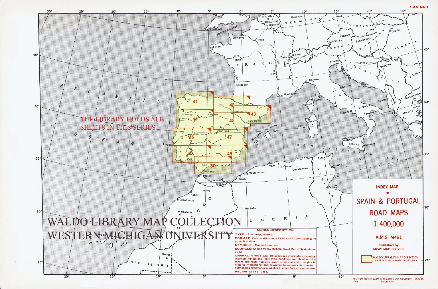 Index map of Spain & Portugal road maps 1:400,000