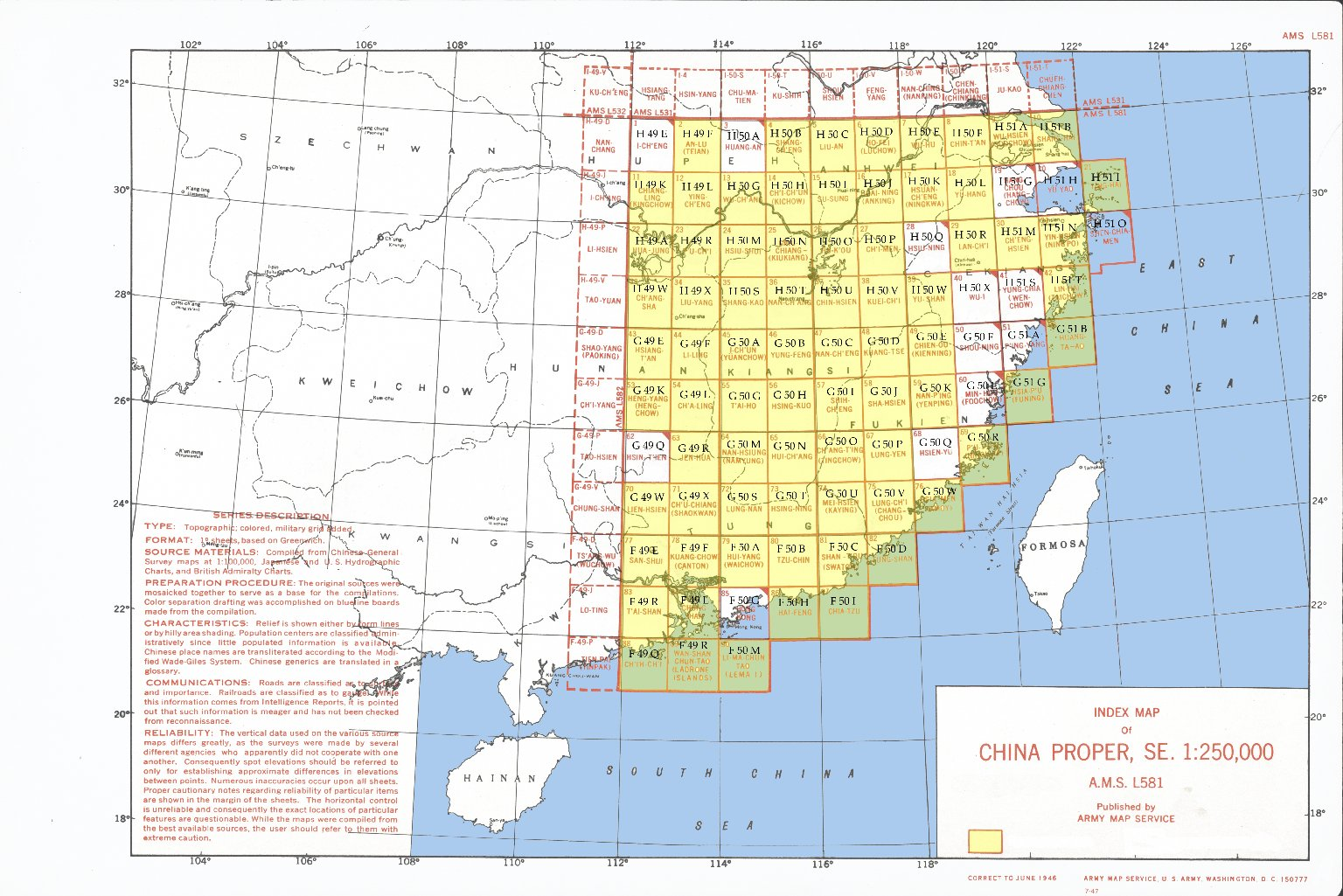 Index map of China proper, SE. 1:250,000