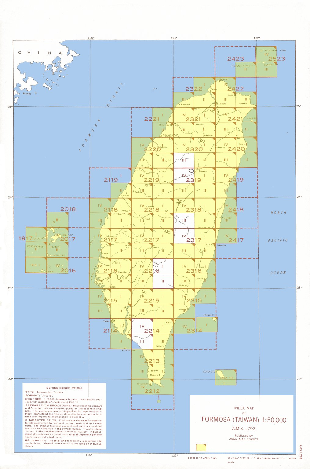 Index map of Formosa (Taiwan) 1:50,000