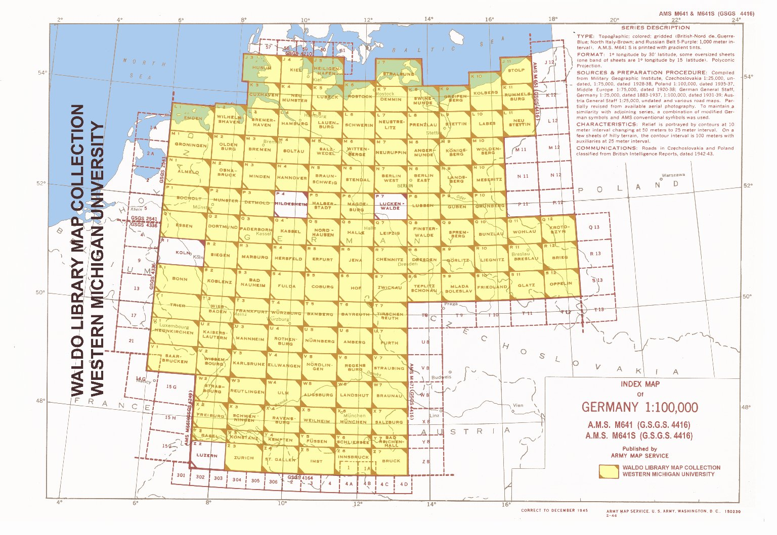 Index map of Germany 1:100,000
