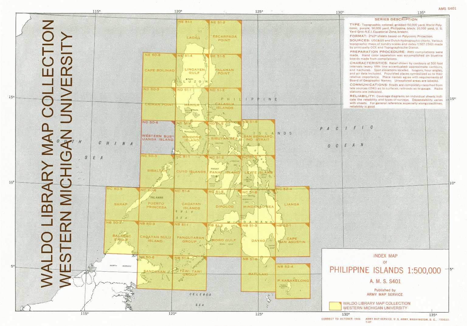 Index map of Philippine Islands 1:500,000