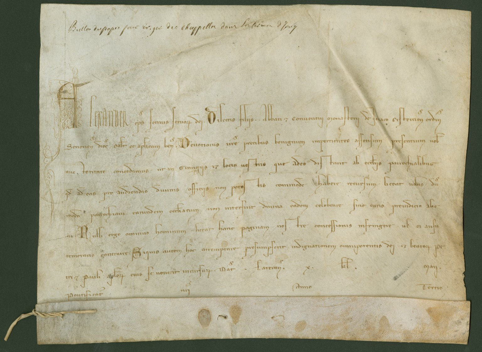 Papal Bull, 1257 May 22, for the Cistercian Abbey of Jouy-en-Brie