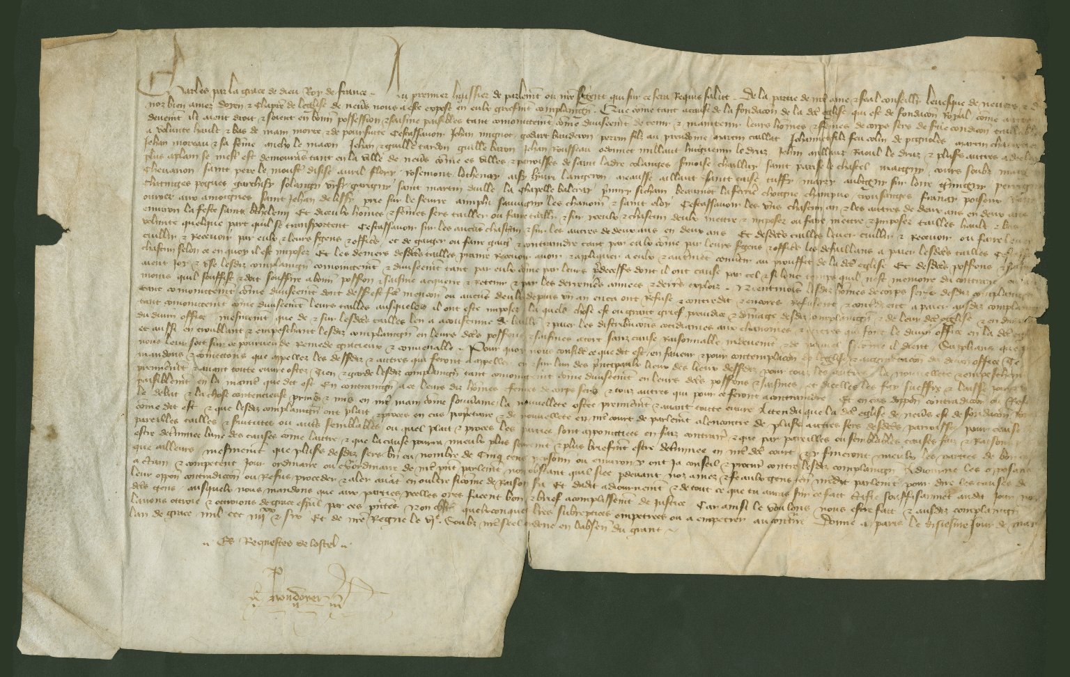 Legal Complaint, 1386 May 10, of the Bishop of the Church in Nevers