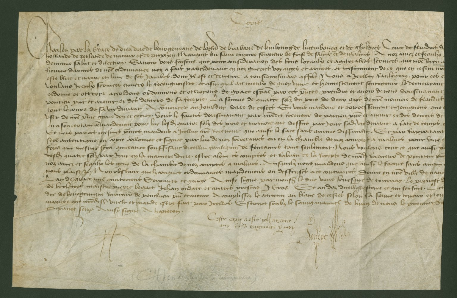 Pension, ca. 1475, from Charles the Bold to Vassal Ranlequin de Fontaines