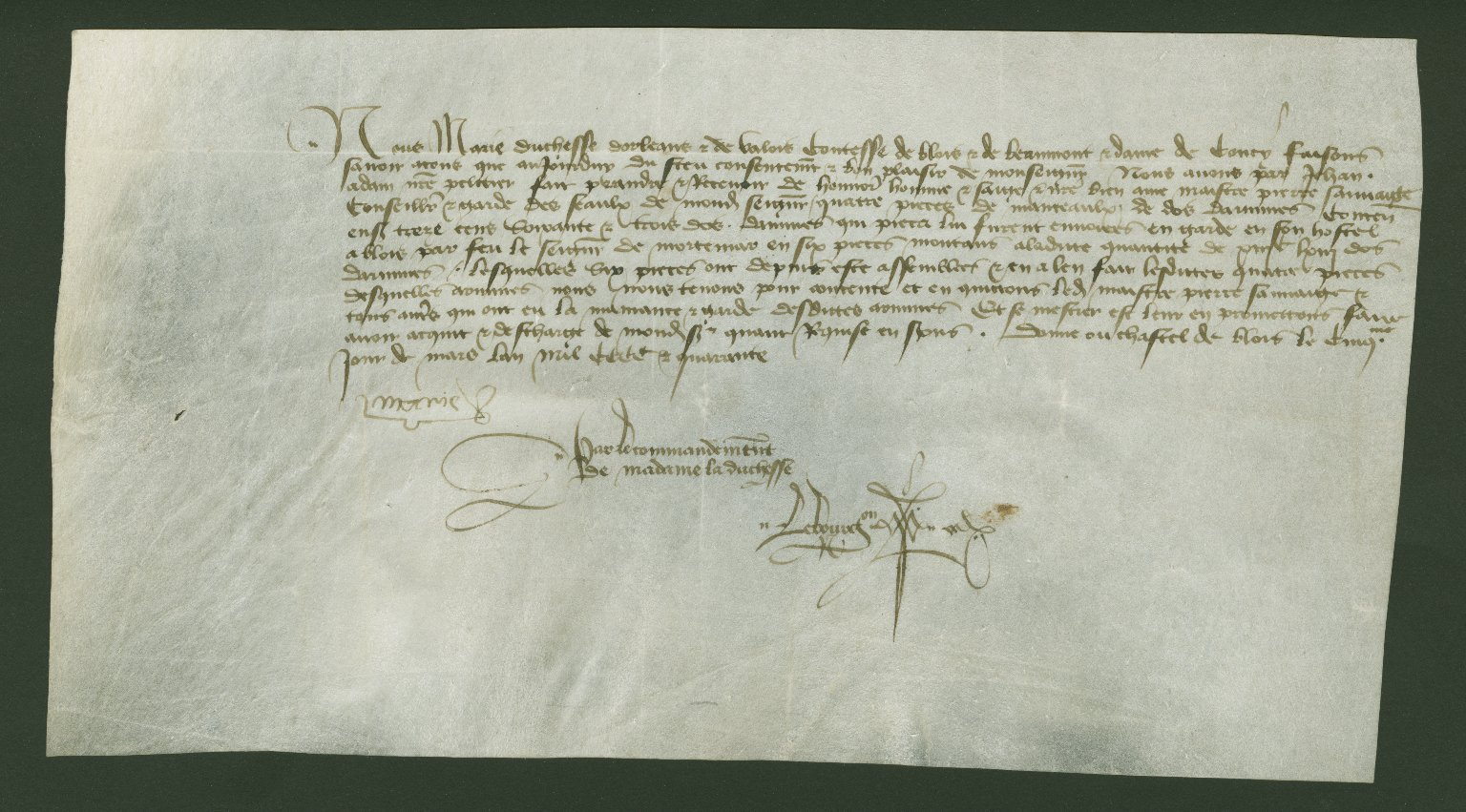 Receipt, 1440 March 5, of Marie of Cleves for Pierre Sauvage