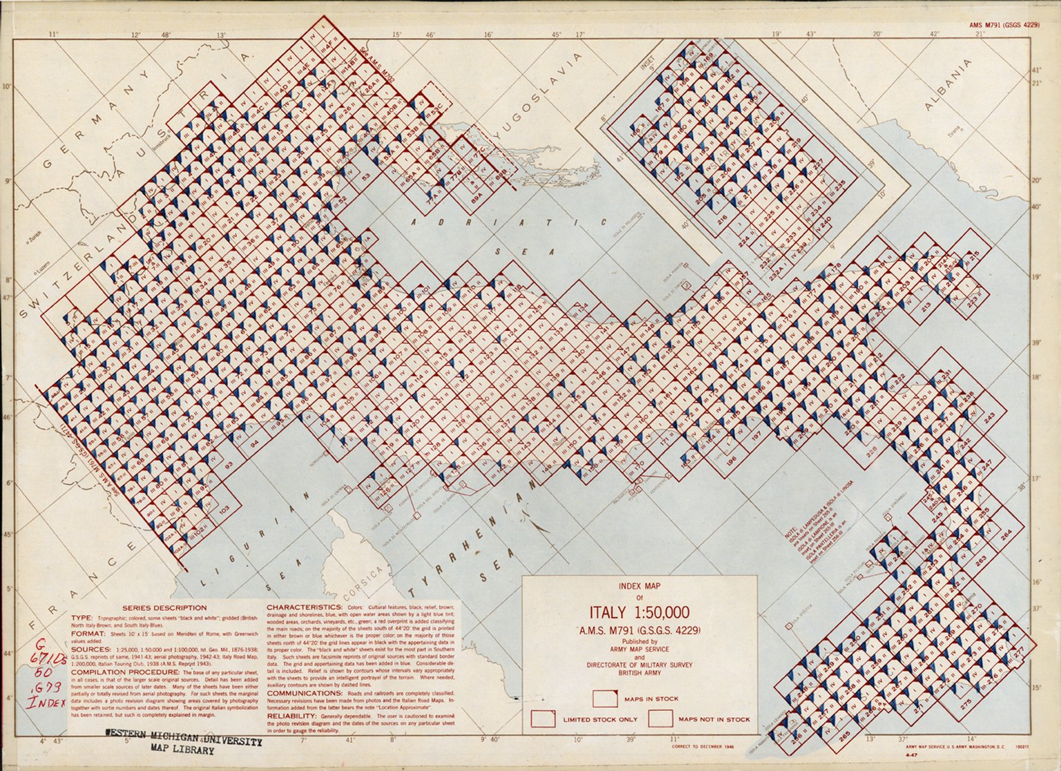 Index Map of Italy 1:50,000