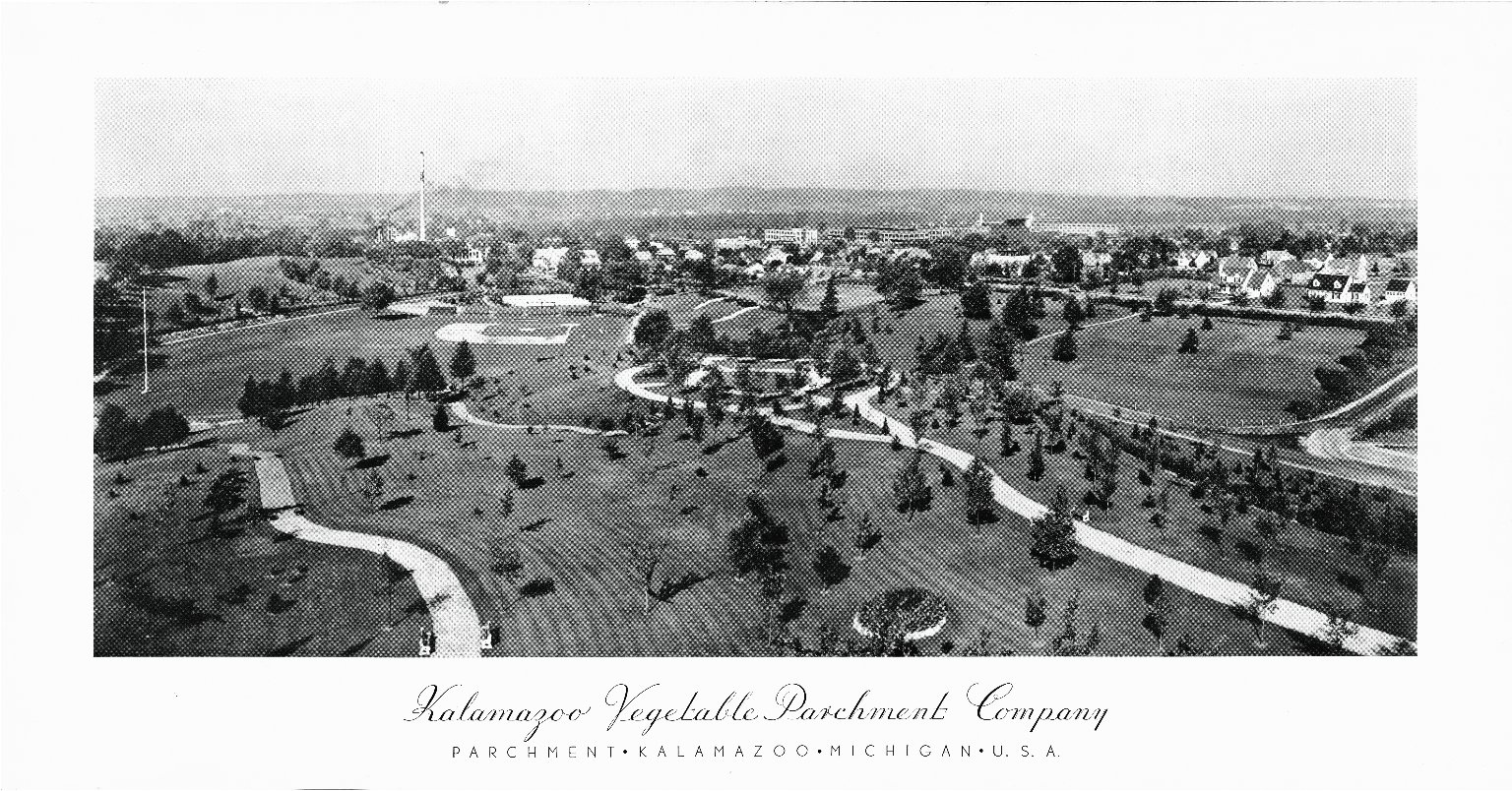 Aerial view of Kalamazoo Vegetable Parchment Plant, printed poster