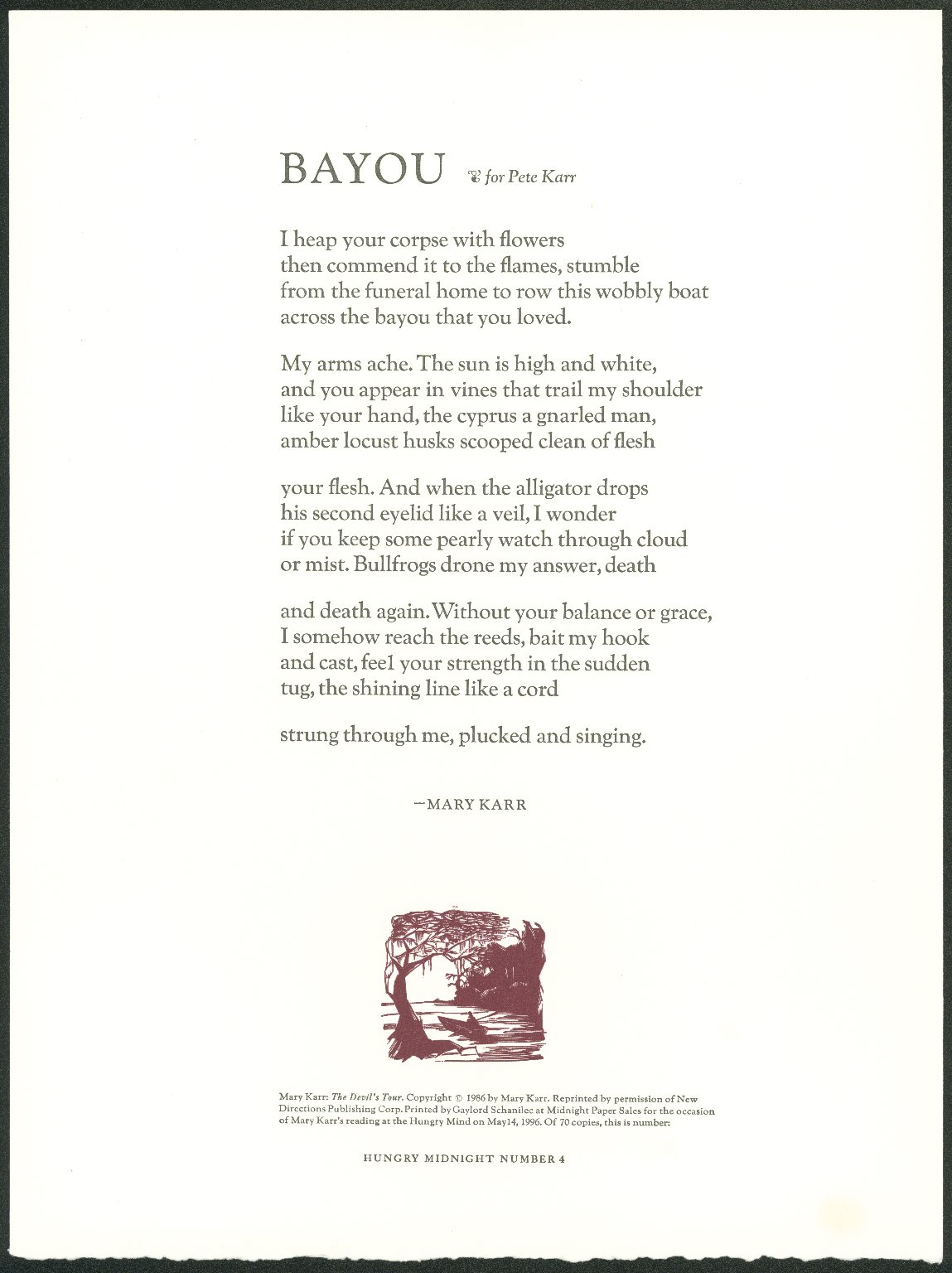 Bayou: for Pete Karr [broadside]