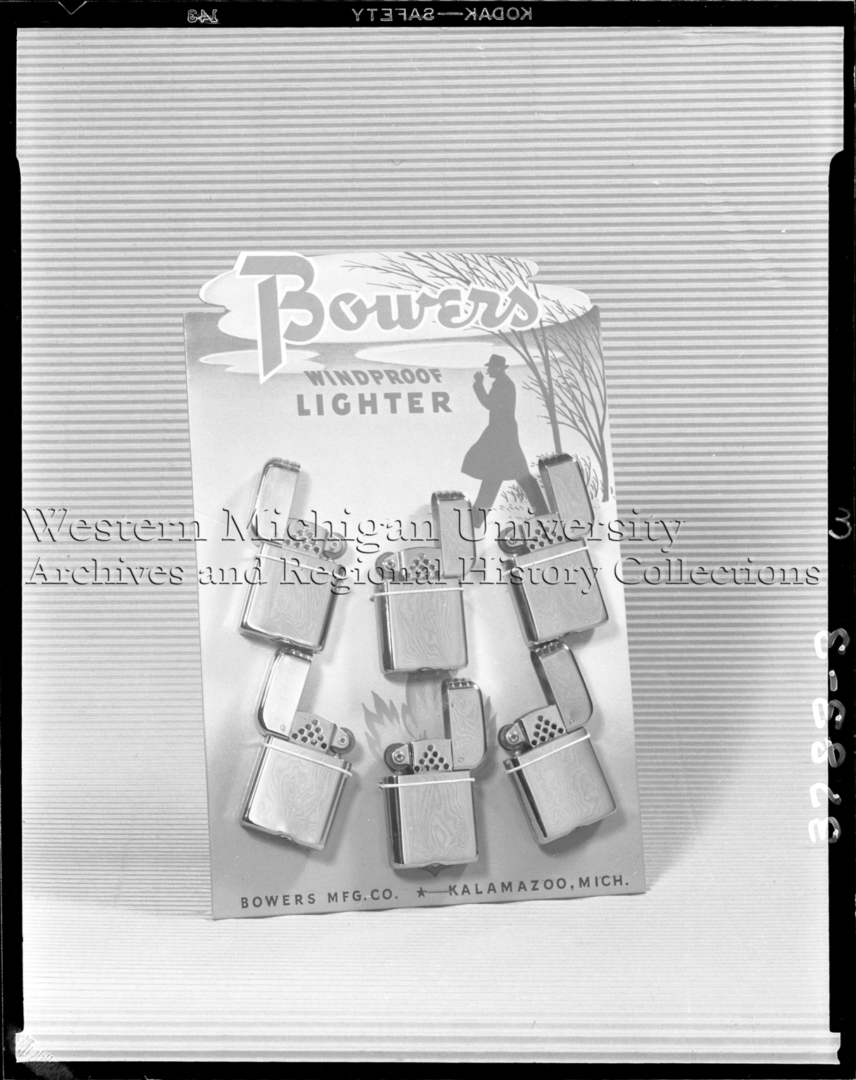 Bowers Manufacturing Company, display of windproof lighters