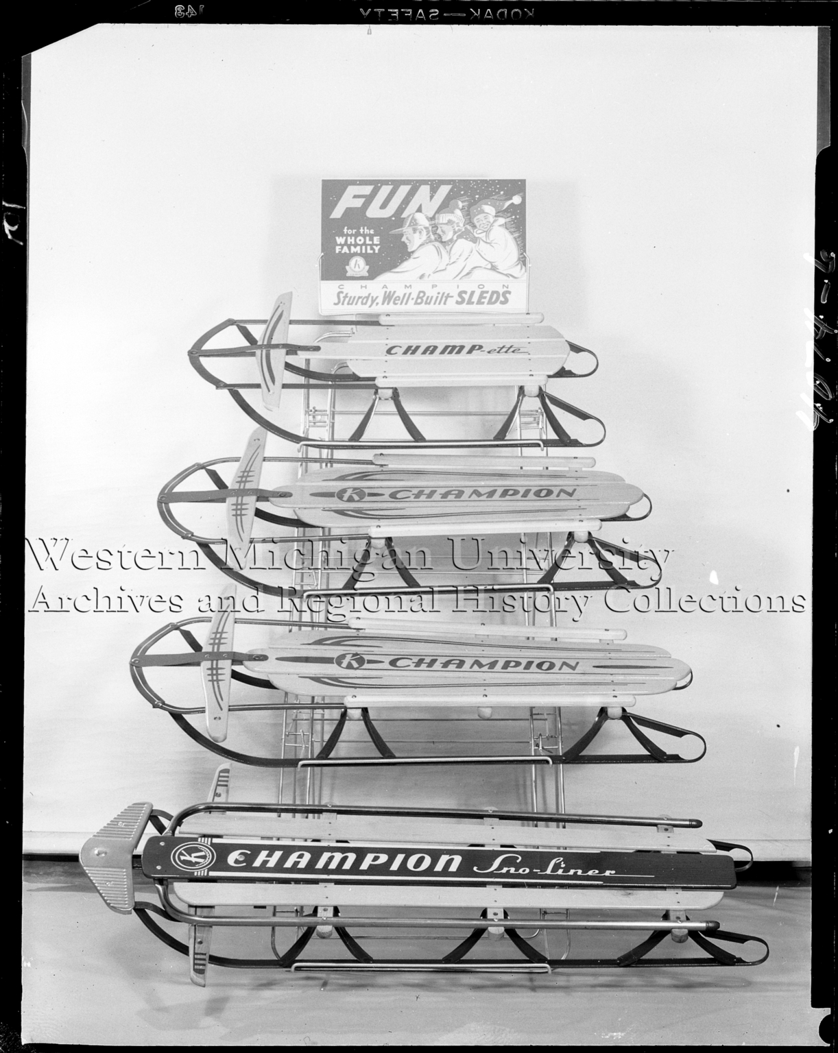 Kalamazoo Sled Company, display of Champion sleds