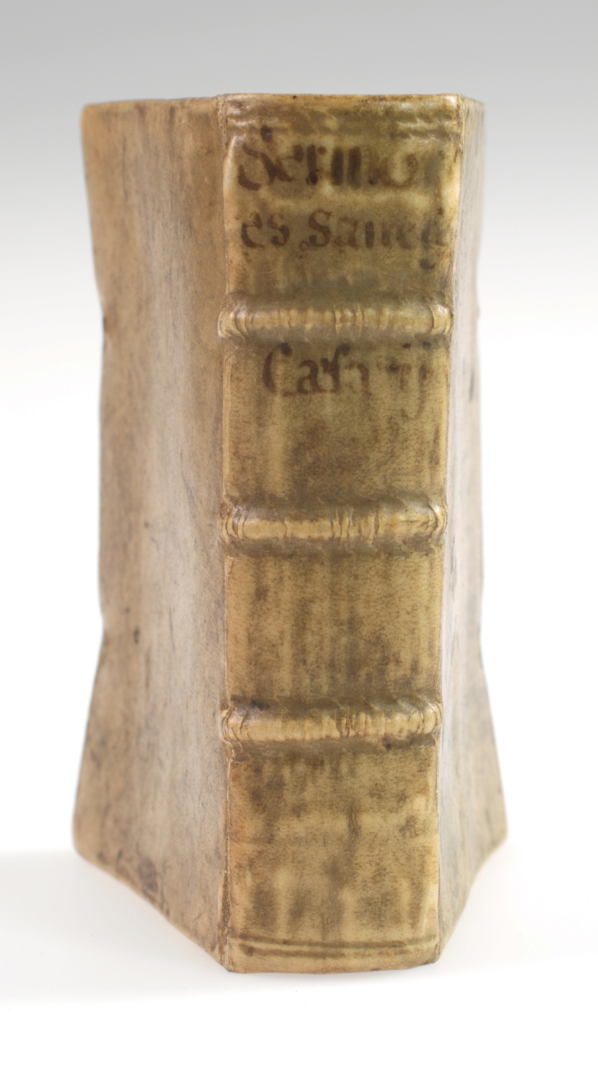 Miscellany of sermons by Caesarius of Arles, Eusebius Gallicanus, Eucherius of Lyon, Faustus of Riez, Augustine, Hugh of St. Victor, Pope Benedict XII, and Pope Urban V, spine