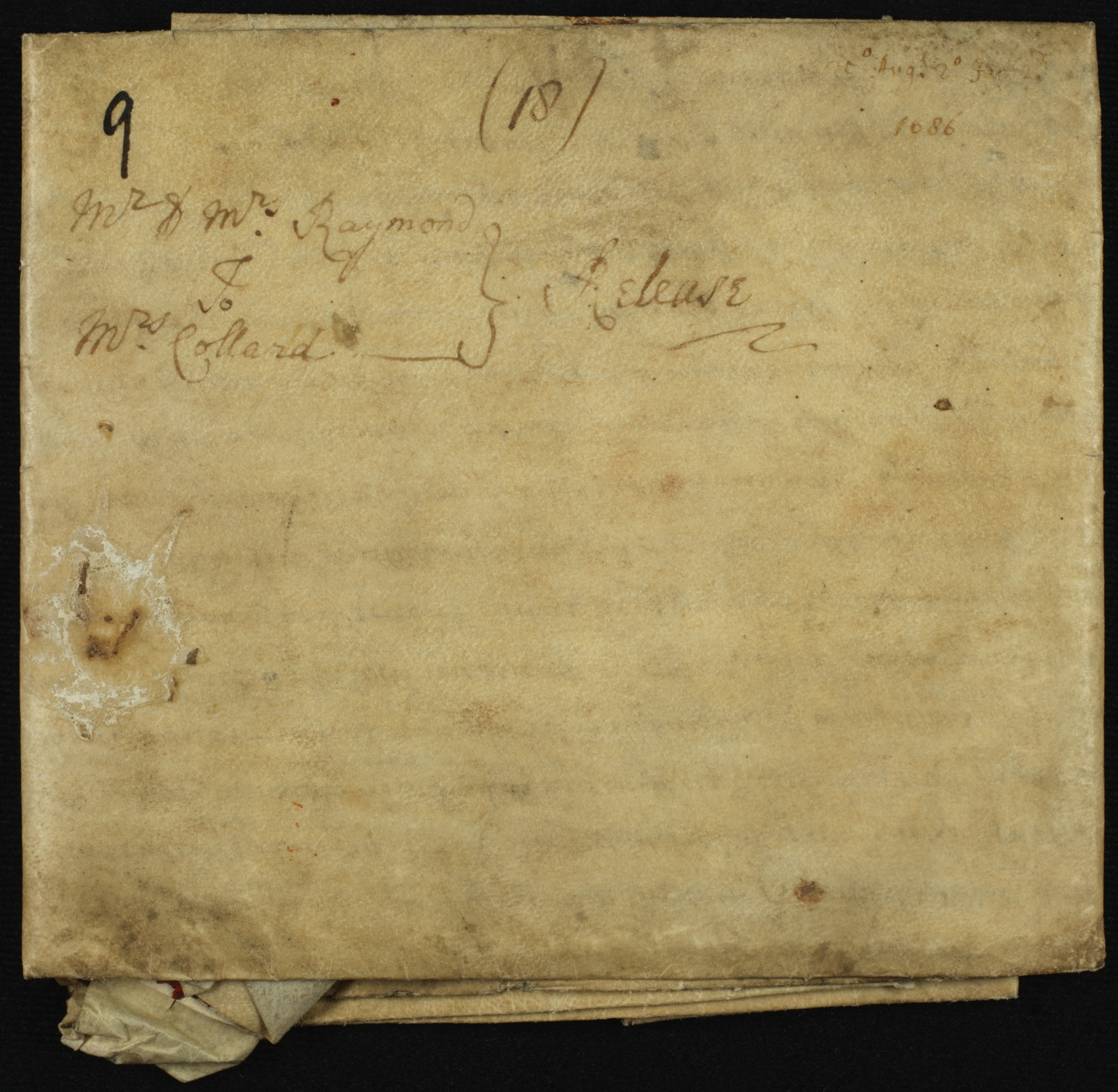 Mortgage, 1686, of Land in Essex to Dorothy Collard of Barnstone, folded, front