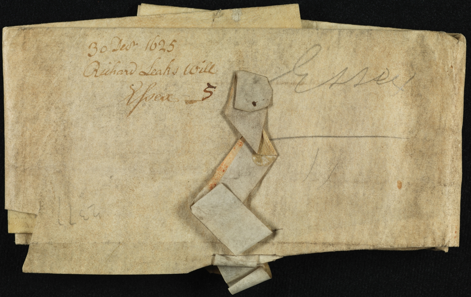 Will and Probate, 1626-1634, of Richard Lake [Leaks?], folded, front
